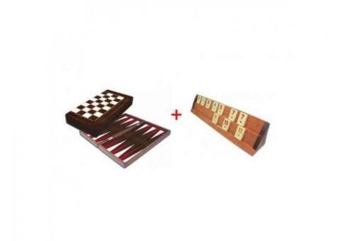 Pachet Remi din lemn Kardesler si Table de joc Yenigun